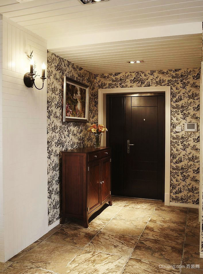 古典欧式风格别墅室内玄关柜设计装修效果图