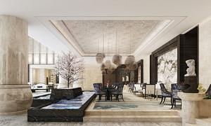 400平米新中式风格五星级酒店大堂设计装修效果图