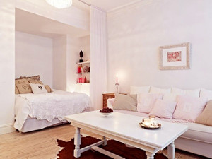 55平米简欧风格单身公寓装修效果图案例