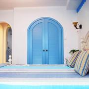 地中海风格两居室卧室门设计装修效果图