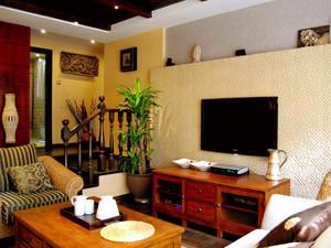 76平米东南亚风格两室一厅室内装修效果图案例