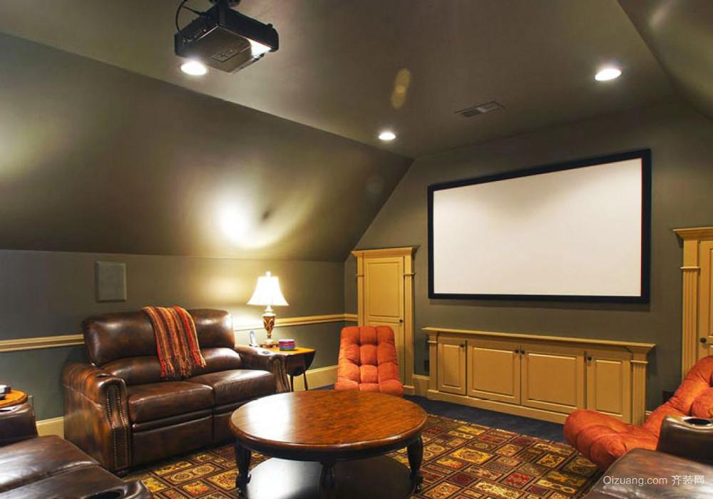 复古美式风格斜顶阁楼客厅影视墙装修效果图