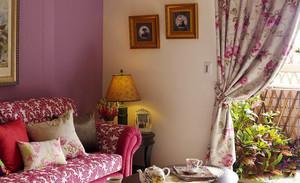 129平米美式田园风格三室两厅室内装修效果图