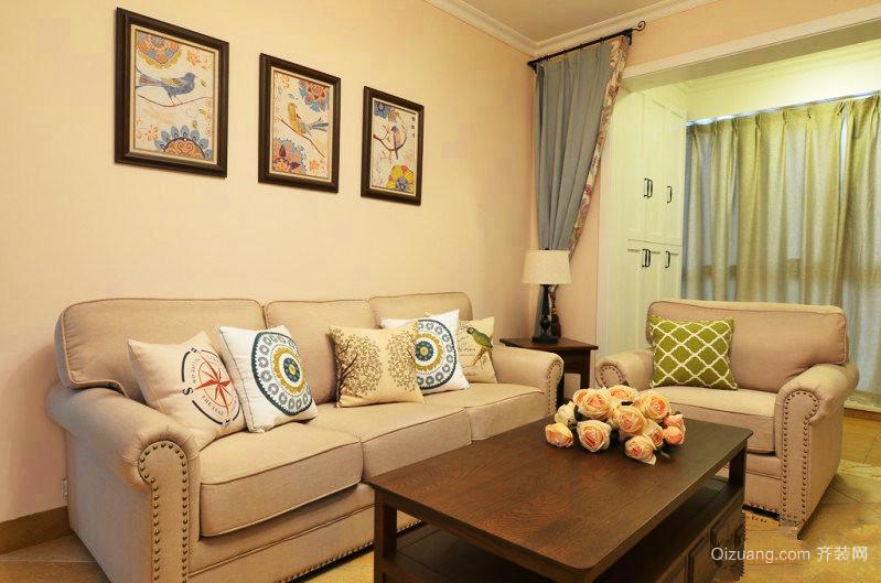 66平米清新美式风格一居室装修效果图鉴赏