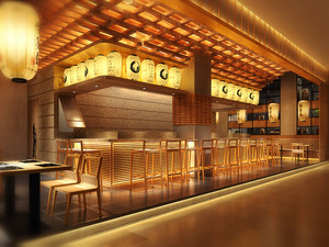96平米中式风格中餐厅设计装修效果图