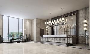 新中式风格五星级酒店大堂设计装修效果图赏析