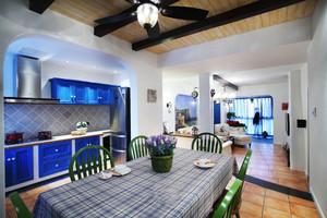 地中海风格三居室厨房餐厅装修实景图赏析