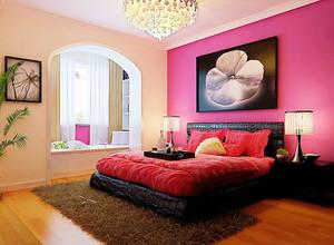 现代简约风格喜庆红色婚房卧室布置装修效果图大全