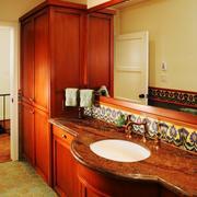 美式乡村风格大户型室内卫生间洗脸盆装修效果图