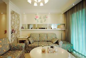 欧式田园风格小户型客厅装修效果图案例