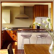 美式乡村风格两居室室内开放式厨房吧台装修效果图