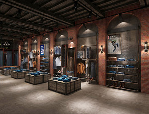 130平米后现代风格服装店展柜设计装修效果图