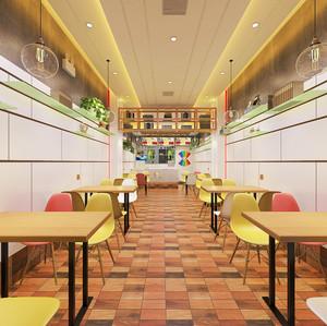 70平米现代简约风格快餐店装修效果图