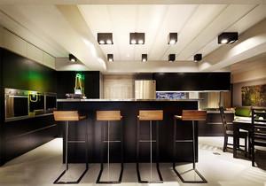 现代风格大户型室内冷色调开放式厨房吧台装修效果图