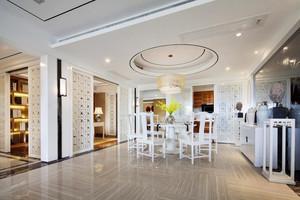 美式风格大户型餐厅圆形吊顶设计装修效果图