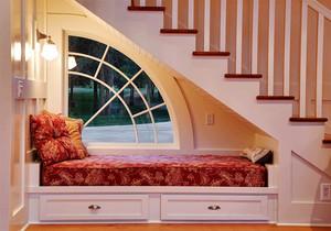 现代简约美式风格别墅室内楼梯飘窗垫设计装修效果图