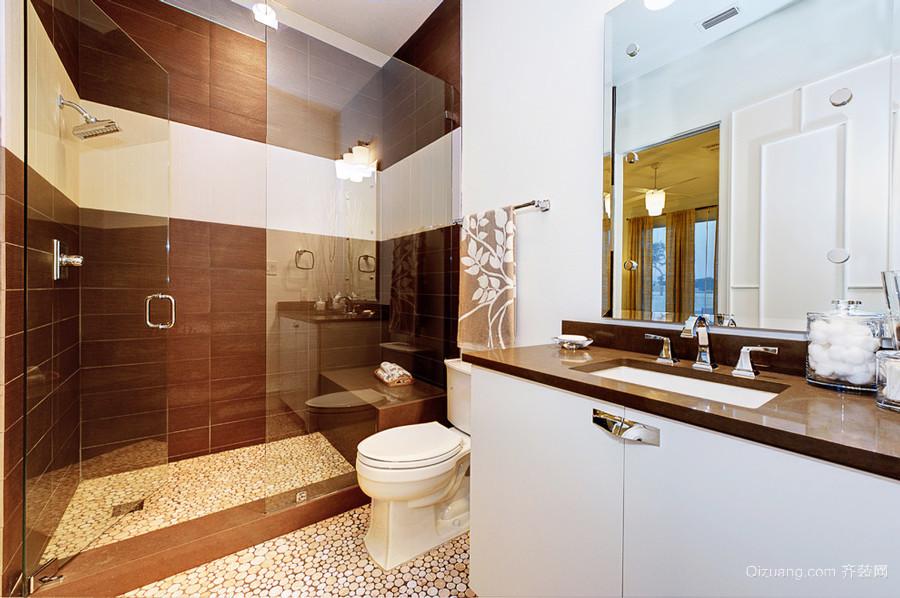 欧式风格大户型室内卫生间玻璃隔断设计装修效果图
