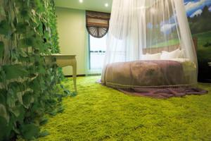 60平米现代简约绿色主题宾馆客房效果图