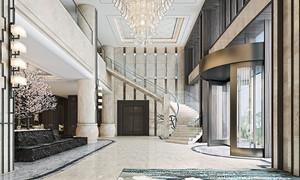 300平米新中式风格酒店大堂设计装修效果图赏析