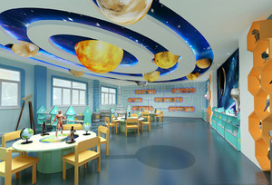 80平米现代简约风格幼儿园吊顶设计装修效果图