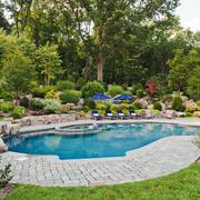 美式风格自建别墅花园设计装修效果图