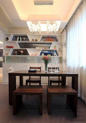 新中式风格两居室室内餐厅背景墙装修效果图