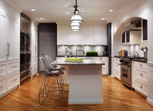 简欧风格大户型室内开放式厨房吧台装修效果图赏析