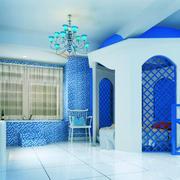 地中海风格大户型室内蓝色儿童房装修效果图