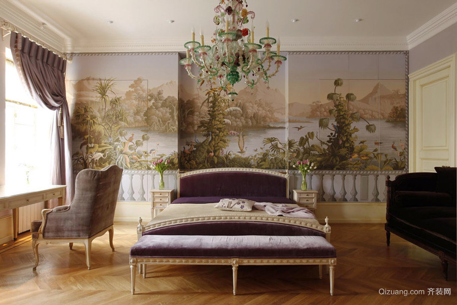 法式风格大户型室内卧室背景墙装修效果图