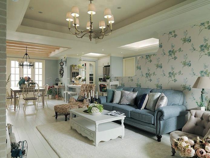 欧式田园风格两居室室内客厅背景墙装修效果图