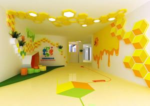 现代简约风格可爱黄色幼儿园墙绘装修效果图
