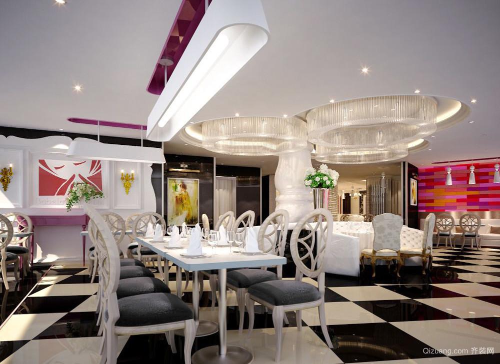 106平米欧式风格西餐厅设计装修效果图
