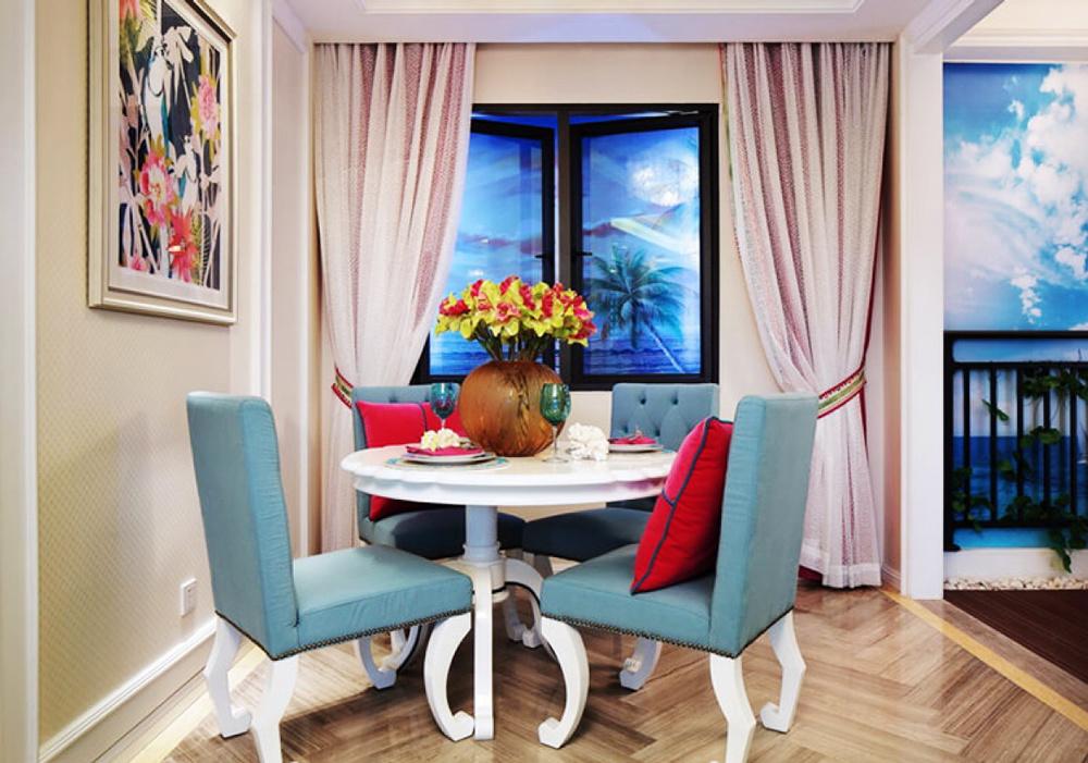 美式混搭风格大户型餐厅窗帘装修效果图赏析