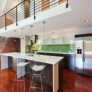 后现代风格loft开放式厨房吧台装修效果图