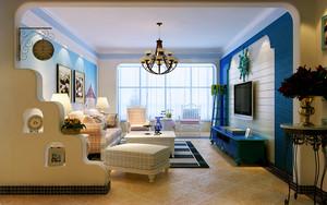 地中海风格大户型室内客厅窗帘设计装修效果图