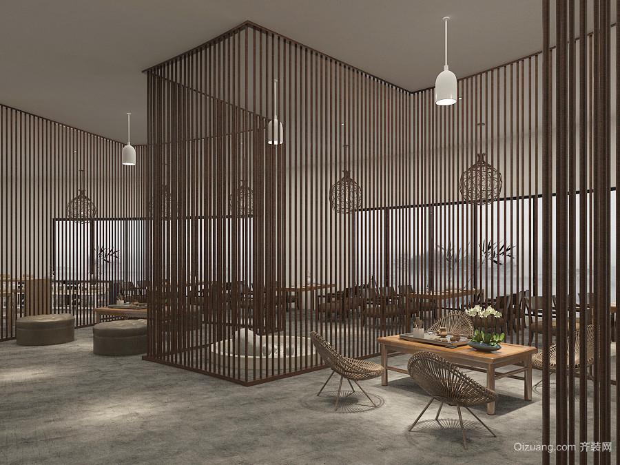 100平米新中式風格中餐廳設計裝修效果圖