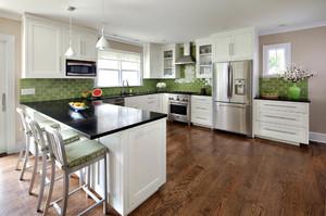 现代简约风格别墅开放式厨房吧台装修效果图