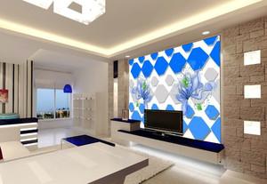现代简约风格两居室客厅电视背景墙装修效果图