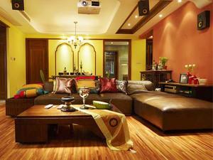68平米东南亚风格一居室小户型装修效果图