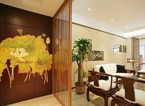 中式风格古朴雅韵客厅隔断装修效果图