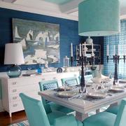 清新美式风格两居室餐厅吊灯设计装修效果图