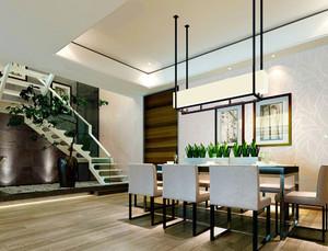 现代风格复式楼室内餐厅吊灯设计装修效果图