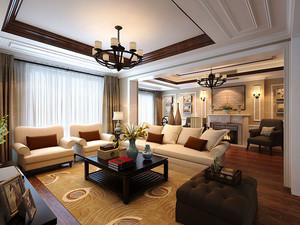 古典欧式风格大户型室内客厅吊顶装修效果图