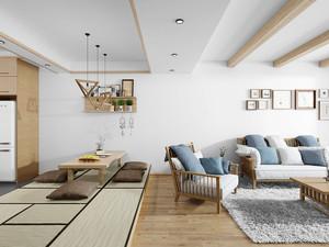72平米日式风格简约自然两室一厅装修效果图