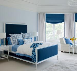 简欧风格别墅室内浅蓝色卧室装修效果图