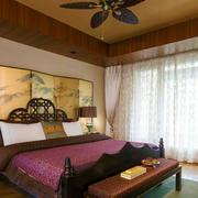 东南亚风格精致古朴卧室背景墙装修效果图赏析