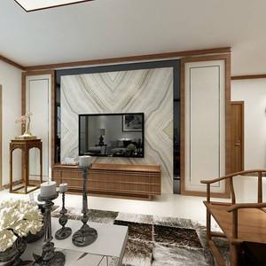 112平米新中式风格三室两厅室内装修效果图案例