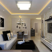 现代简约风格两居室客厅吸顶灯装修效果图