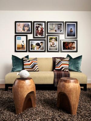 时尚混搭风格小户型客厅沙发背景墙装修效果图