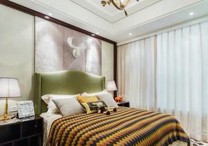 新中式风格创意时尚卧室背景墙装修效果图